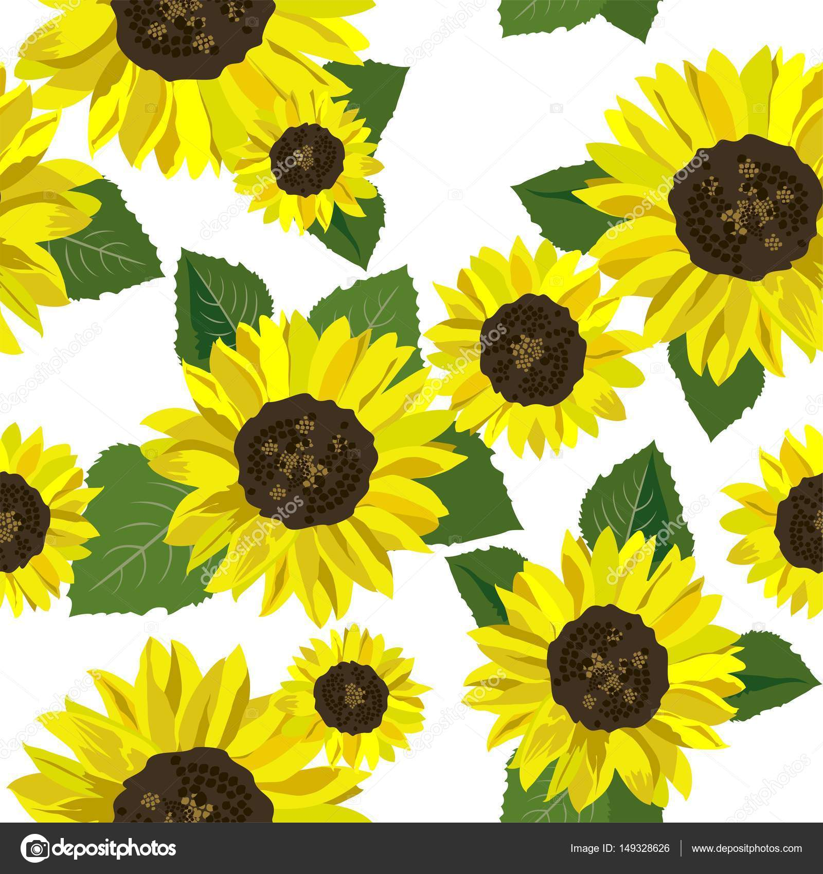 summery wallpaper with sunflowers — stock vector © goldruno #149328626