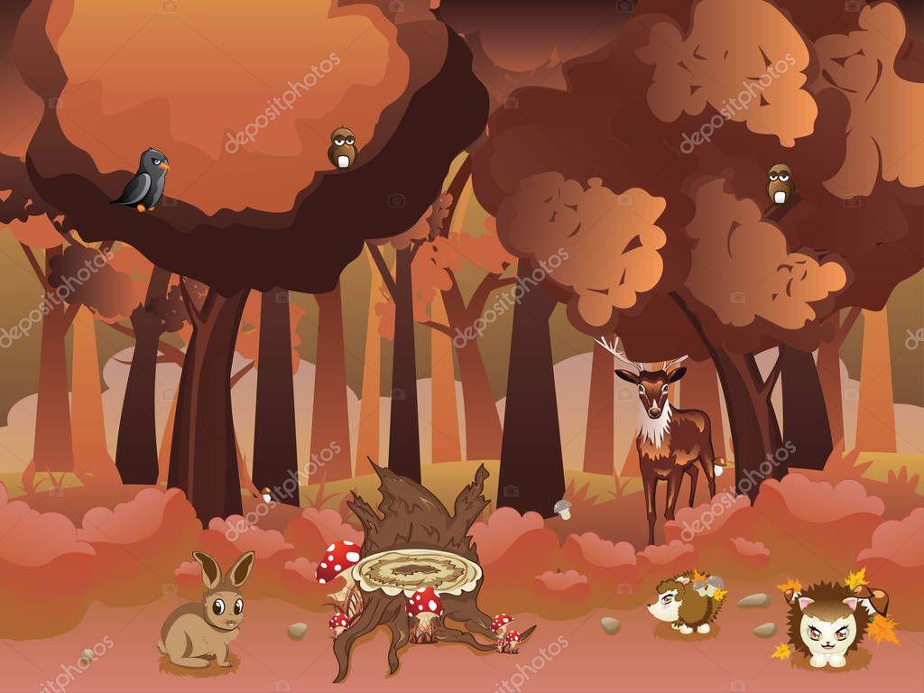 Iets Nieuws Cartoon herfst bos met dieren — Stockvector © artshock #128928312 &TC07