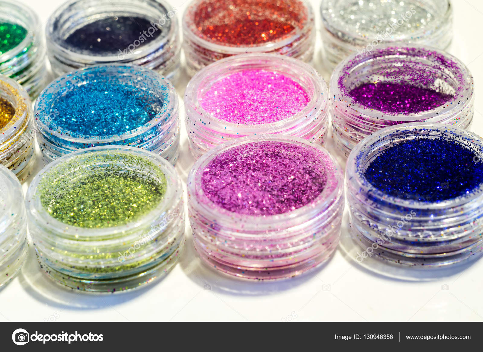 Set of Colorful Nail Glitter — Stock Photo © artshock #130946356