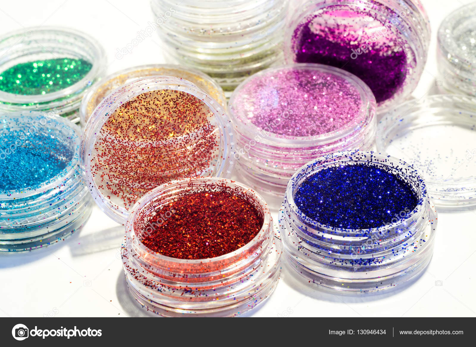Set of Colorful Nail Glitter — Stock Photo © artshock #130946434