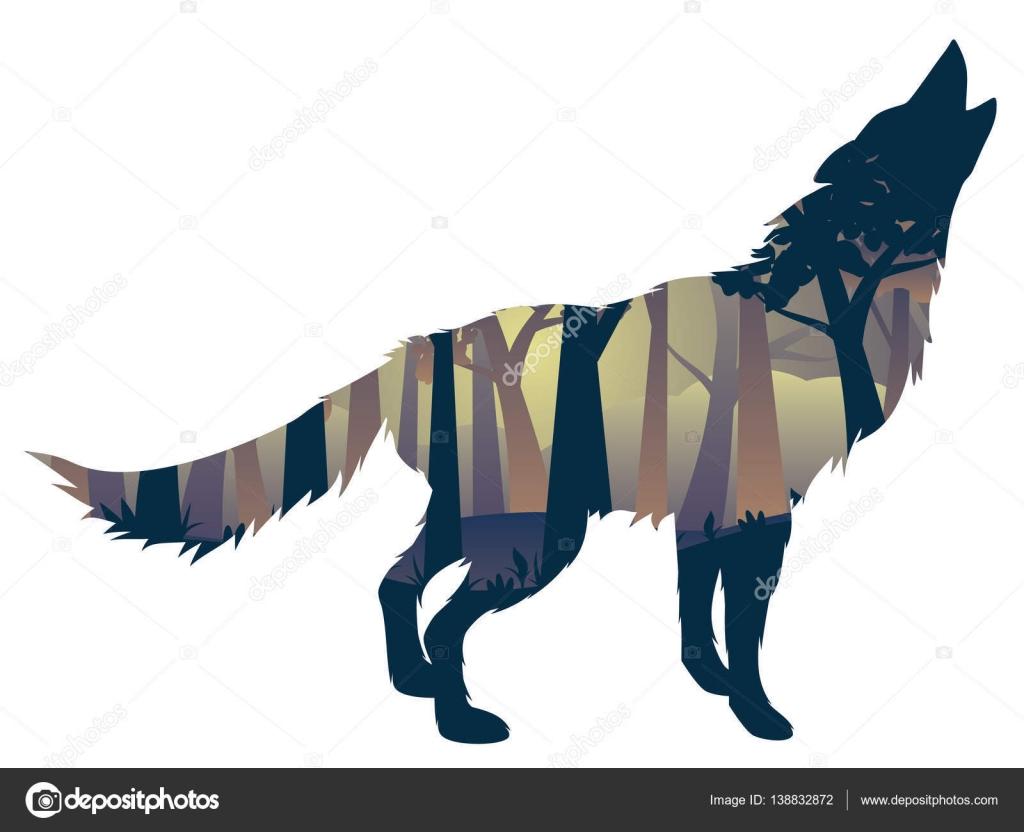 Silueta Lobo: Silueta De Lobo Aullando