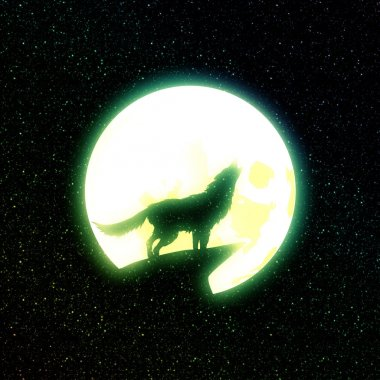 Wolf Howling and Starry Sky
