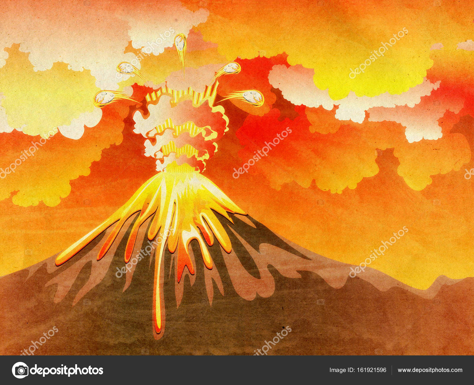 Image result for volcano erupting painting