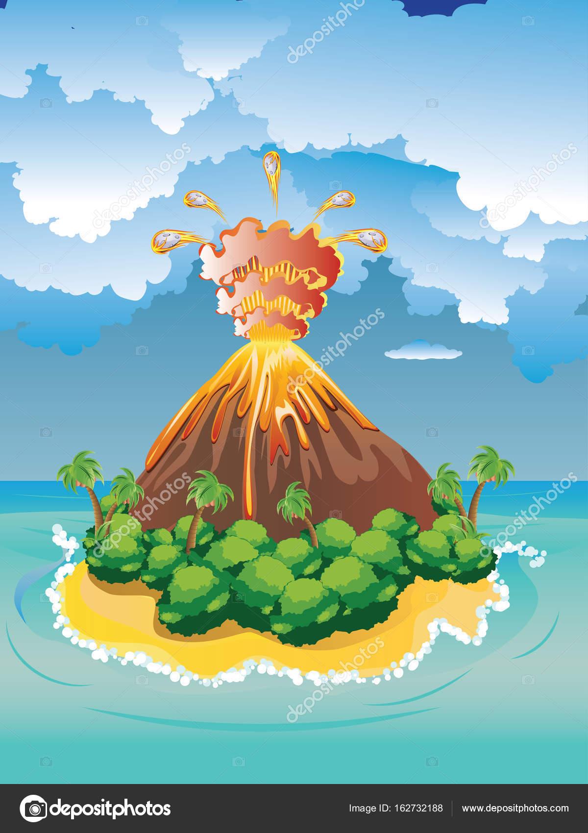 Eruzione del vulcano di cartone animato — vettoriali stock