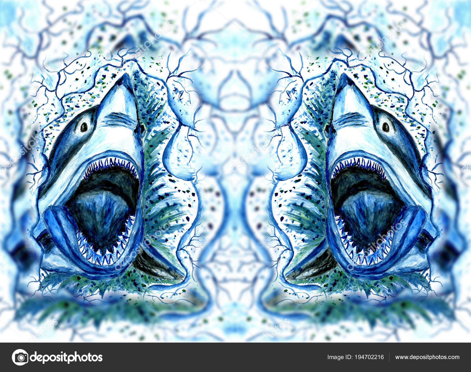 Picture: a shark drawing | Hungry Shark Drawing — Stock