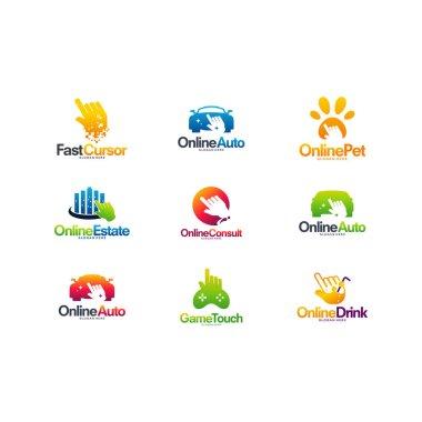 Set of Various Cursor logo designs concept, Various Cursor Technology logo template designs vector illustration