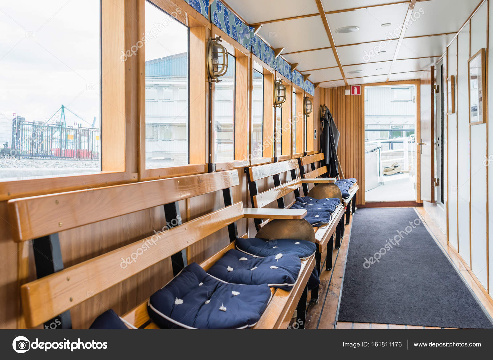 STOCKHOLM, SWEDEN   JULY 12, 2017: Boat Interior With Windows, Wooden  Benches And Soft Seats U2014 Photo By A.petrych@gmail.com. Find Similar Images