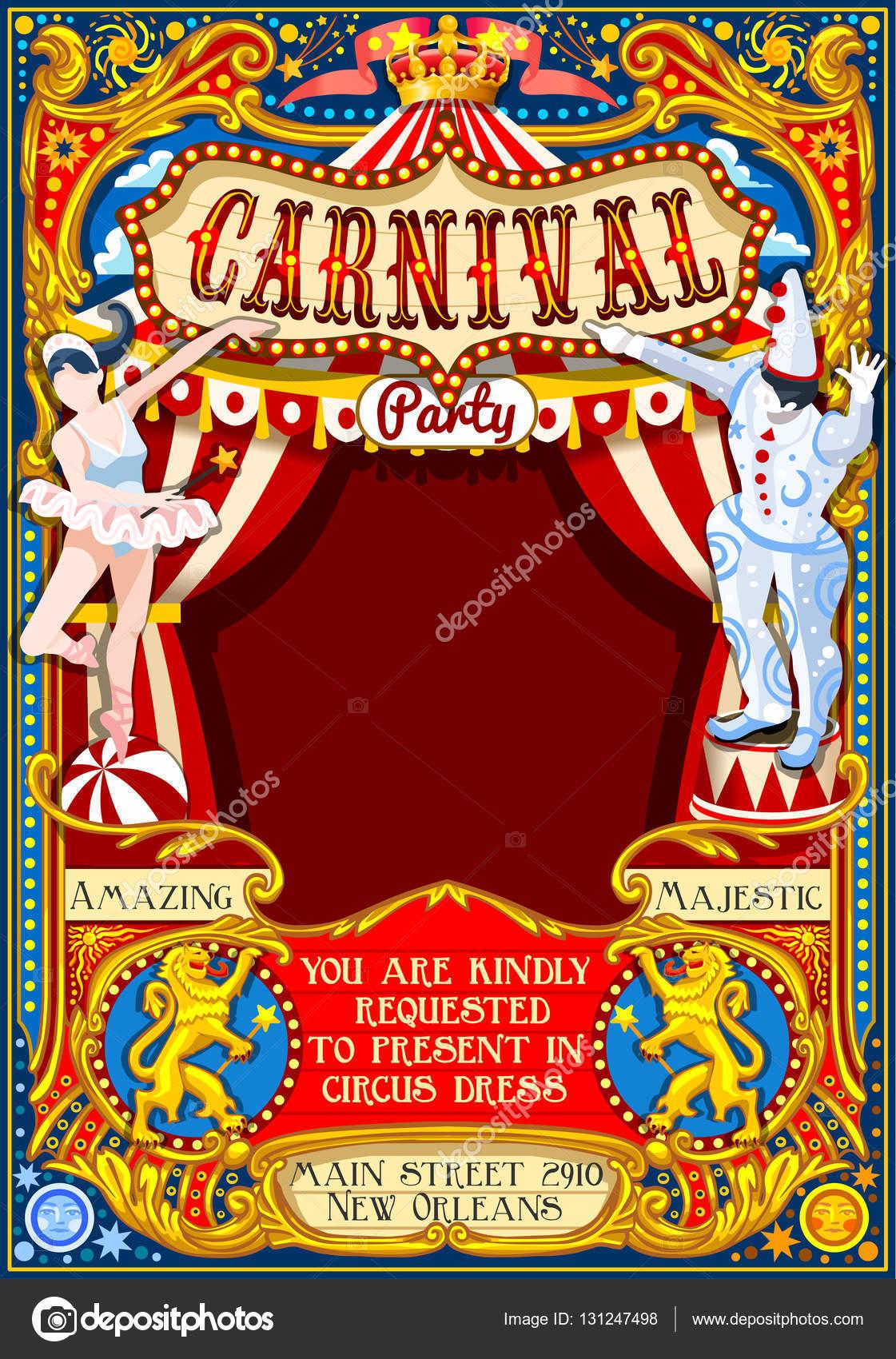 サーカス カーニバルのテーマ ヴィンテージ 2d ベクトル ストック