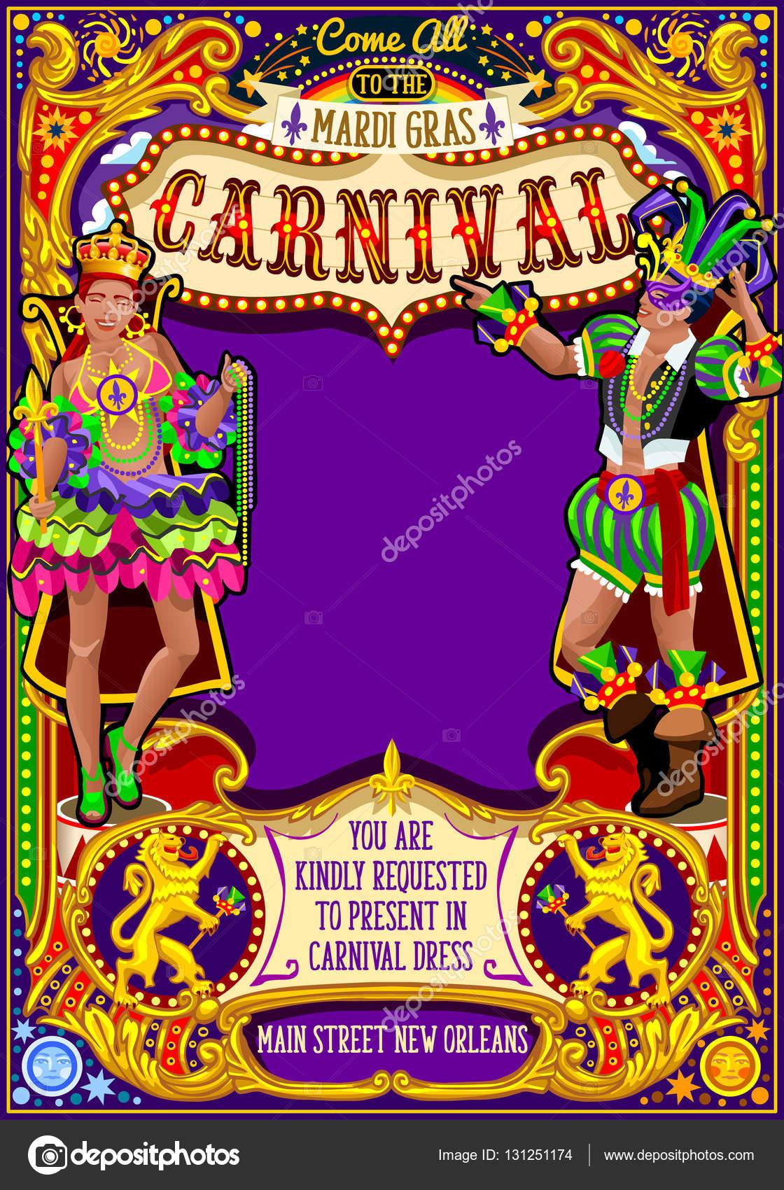 Fasching Karneval Plakat Einladung Maske Show Karnevalsumzug