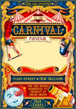 Circus Carnival Illustration vintage 2d vector
