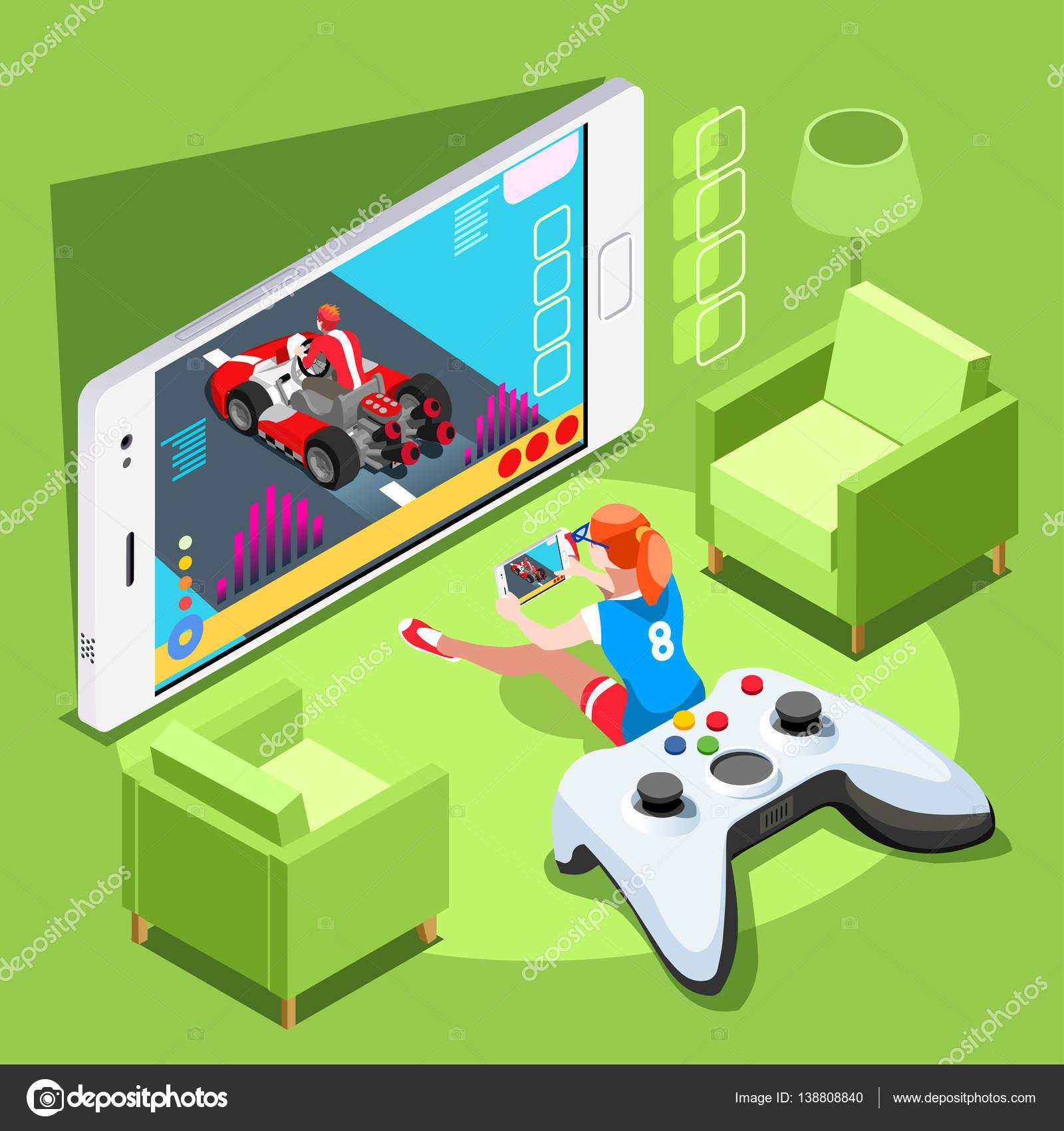 Vector: ilustración de la computadora   Computadora videojuegos