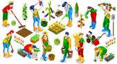 Izometrické lidí farmář 3d ikony kolekce vektorové ilustrace