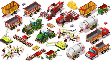Isometric Farm Vehicle 3D Icon Set Collection Vector Illustratio