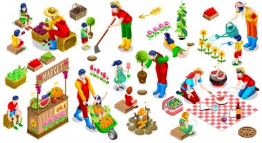 Isometric People Plant Tree Family Icon Set Vector Illustration