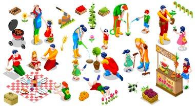 Isometric People Family Plant Tree Icon Set Vector Illustration