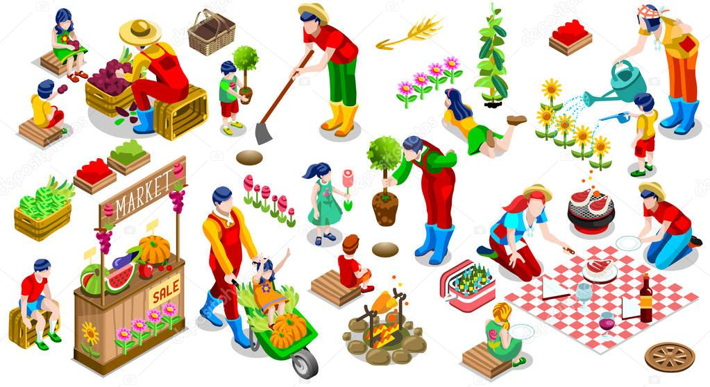 Isometric People Plant Tree Family Icon Set Vector Illustration