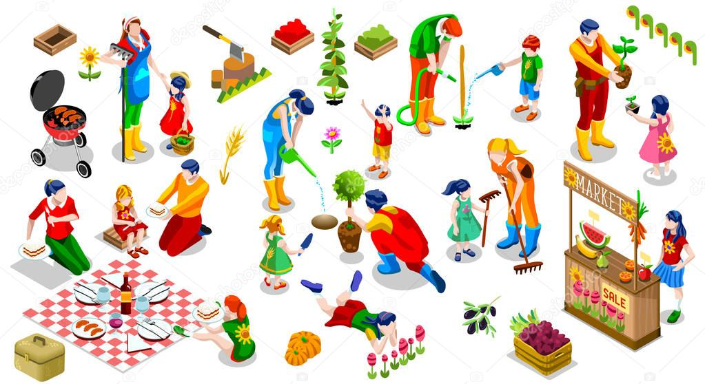 Isometric People Family Plant Tree Icon Set Vector Illustration
