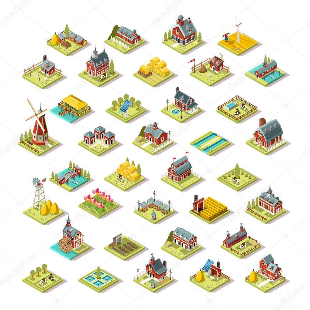 Isometric Isolated Farm Building Icon Set Vector Illustration