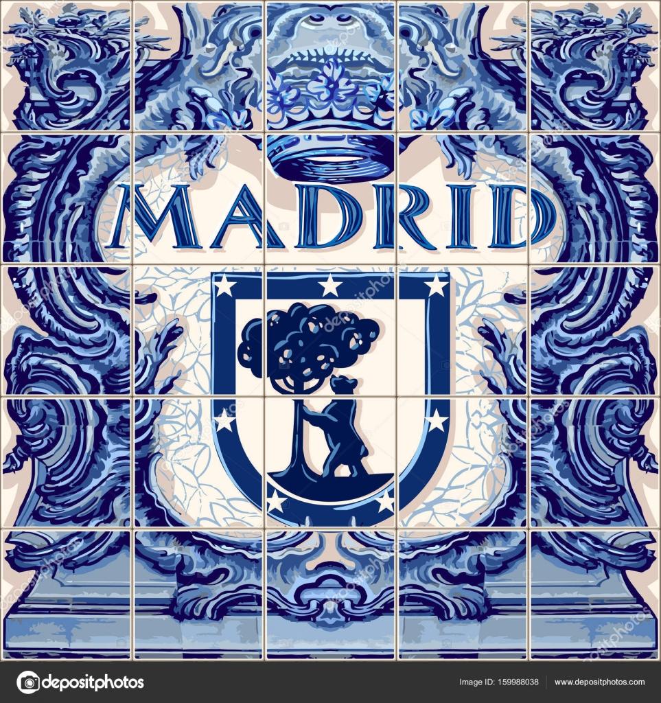 Madrid Spanish ceramic tiles Spain — Stock Vector © aurielaki #159988038