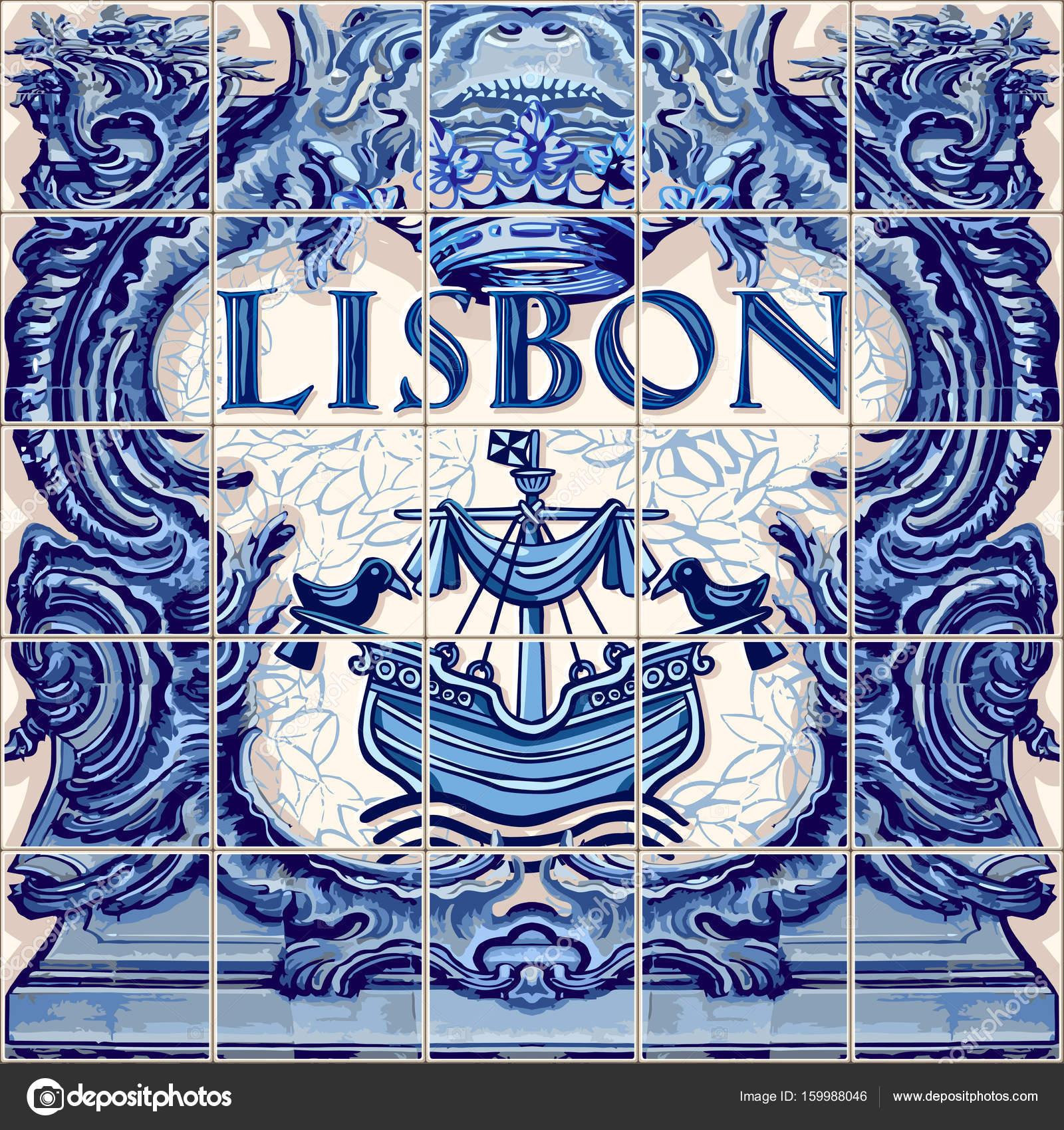 Madrid Spanish ceramic tiles Spain — Stock Vector © aurielaki #159988046