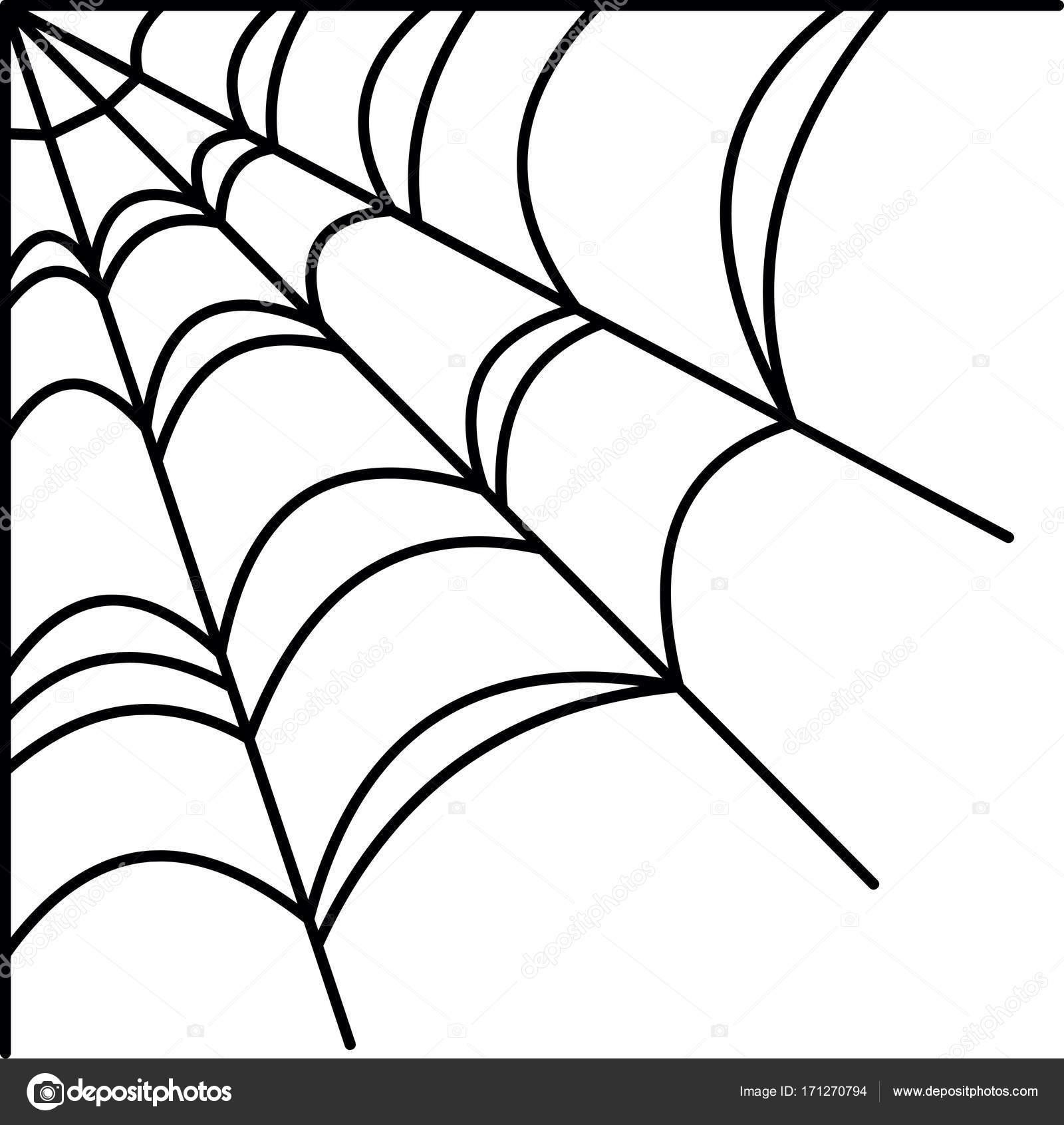 Halloween Vector Spiderweb Border Spider Stock Vector