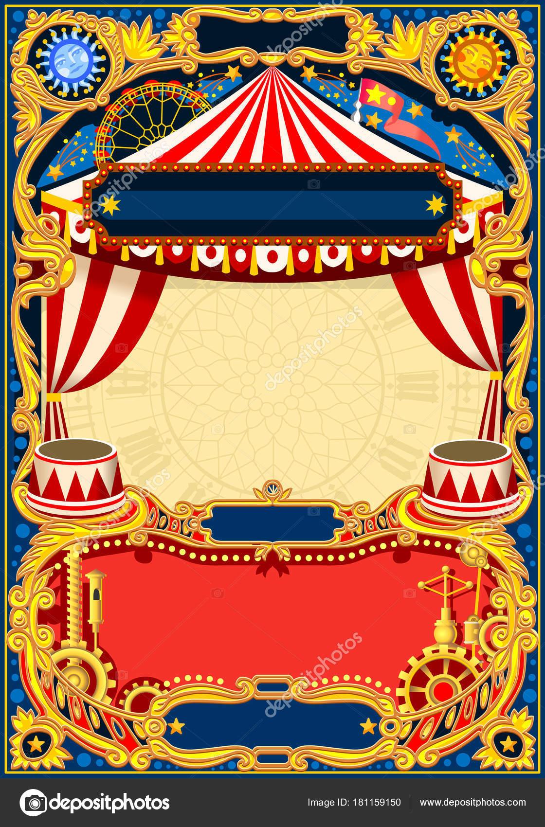 Zirkus bearbeitbaren Rahmen Vektor — Stockvektor © aurielaki #181159150