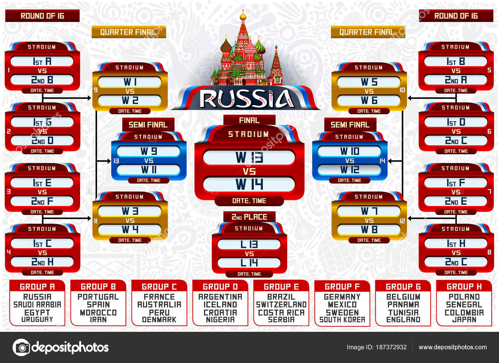 Depositphotos Stock Illustration Russia World Cup Groups Schedule Soccer Poster Tournament