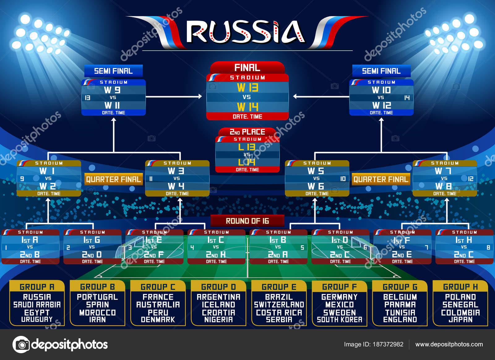 Mondiale Russia Calendario.Russia World Cup Calendario Grafico Vettoriali Stock