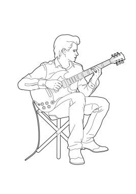 Vector illustration of a young man with his electric guitar, EPS 10 file