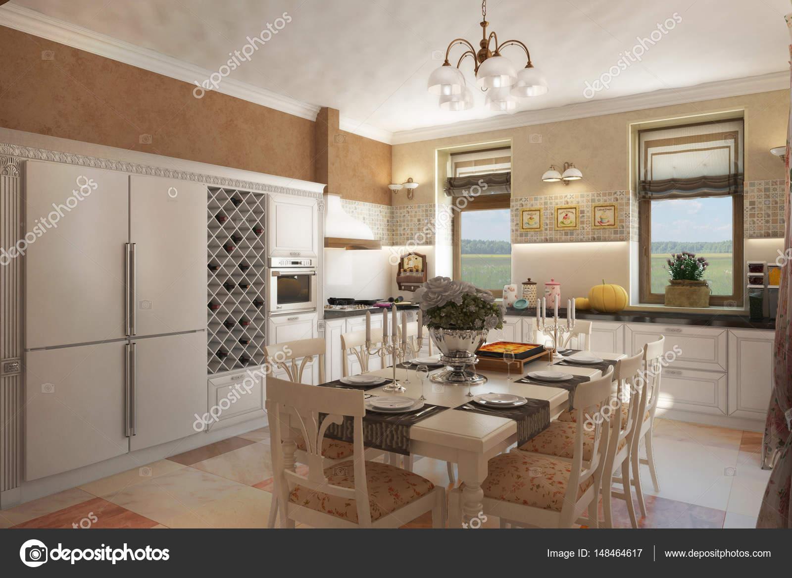País Casa Provenza cocina chimenea lounge_angle03 — Foto de stock ...