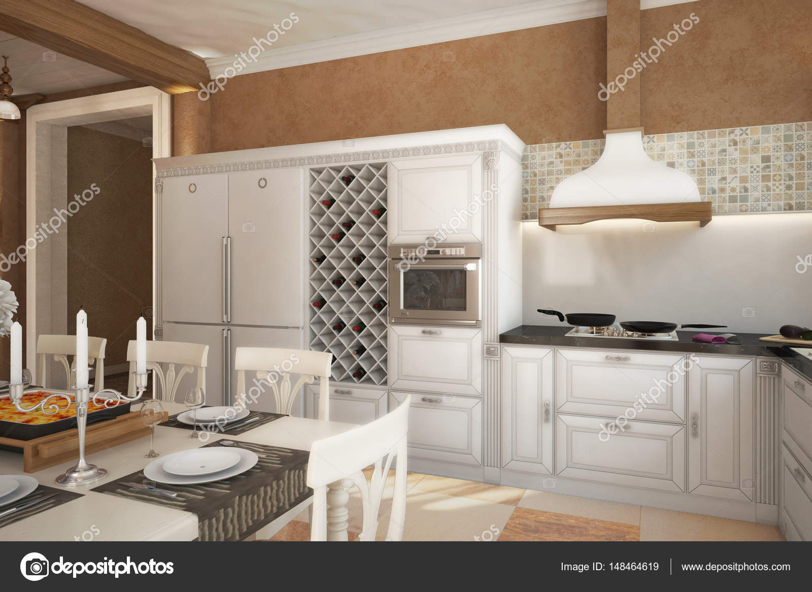 País Casa Provenza cocina chimenea lounge_angle01 — Foto de stock ...