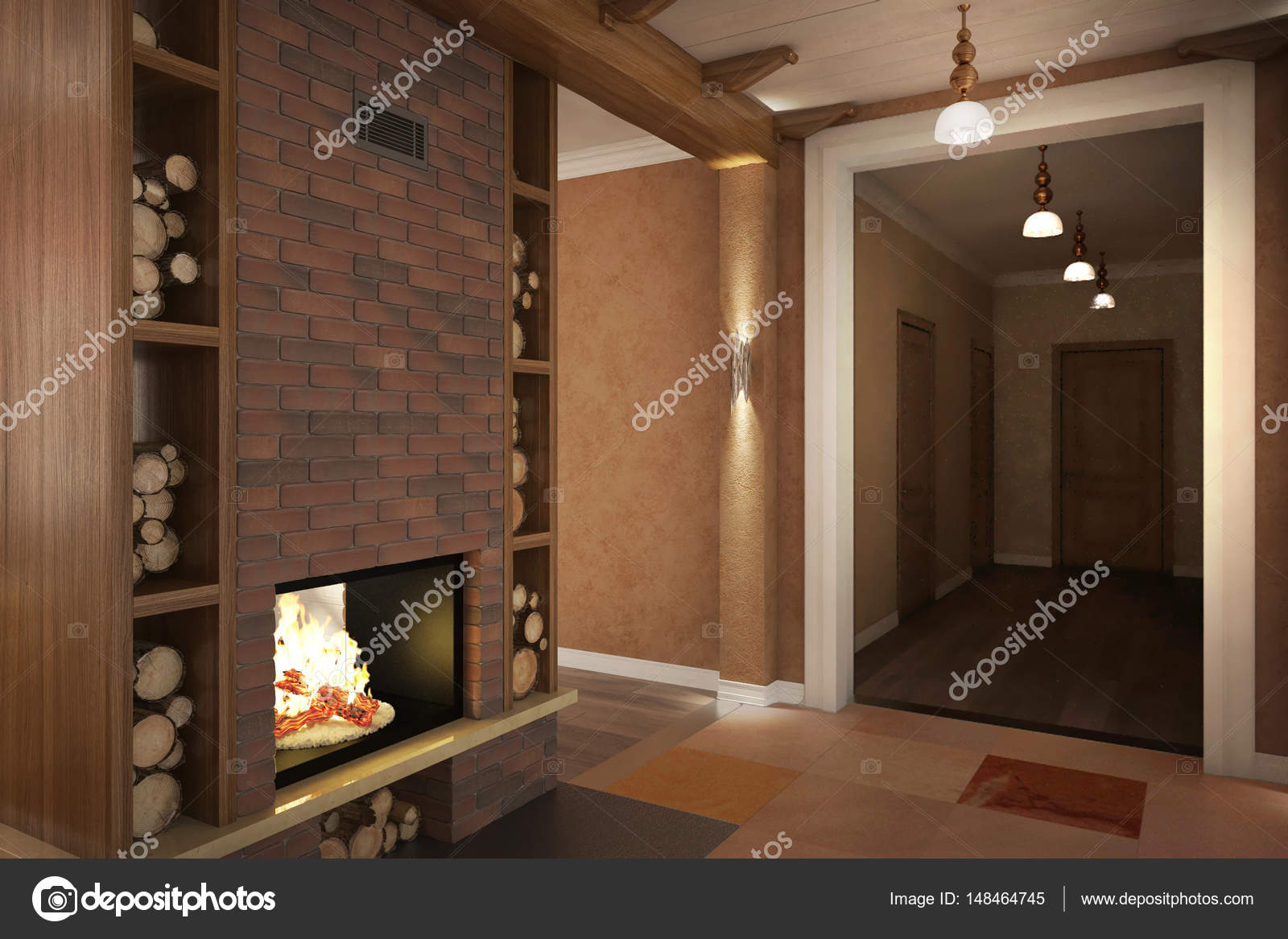 Land Haus Provence Küche Kamin lounge_angle08 — Stockfoto © koslev ...