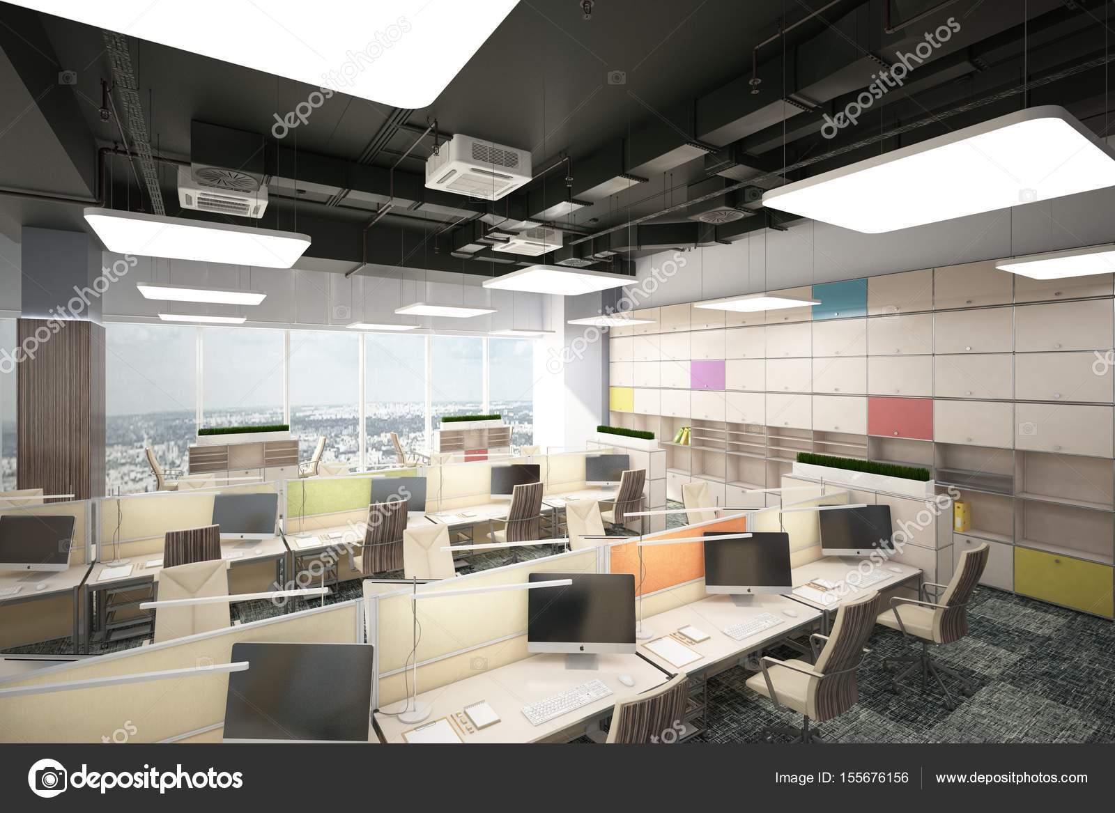 Modern Open Space Office_angle04 (render) U2014 Fotografia De Stock