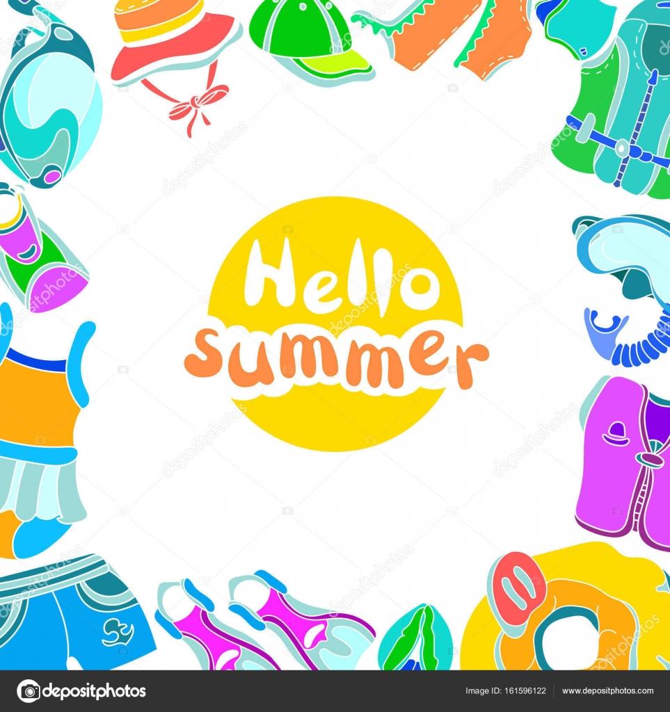 Plantilla con mercancías de la natación para el verano de los niños ...