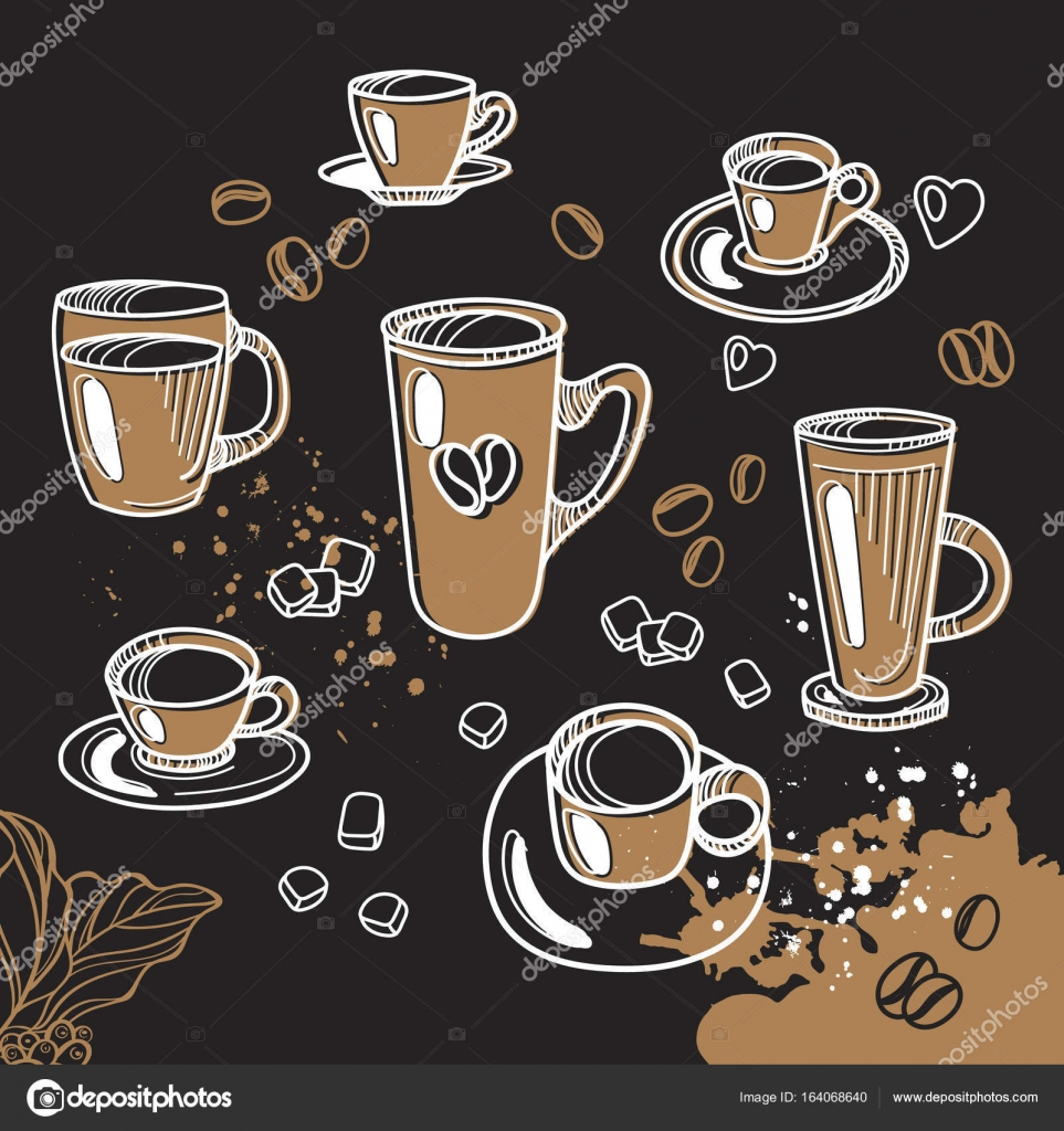 cb6e3acf59 Készlet különböző csésze tea- és kávéfőző. Grafikus kézzel készített  vázlat. Vektoros illusztráció– stock illusztrációk
