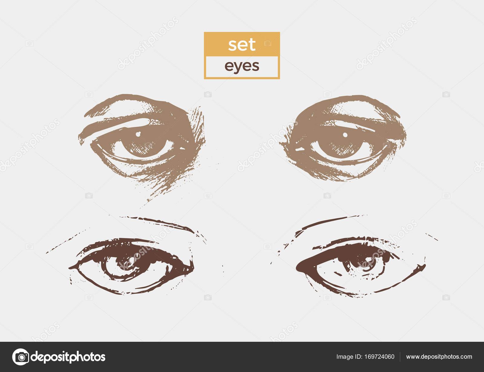 Reihe von anderen Augen mit detaillierten Zeichnungen von Schülern ...