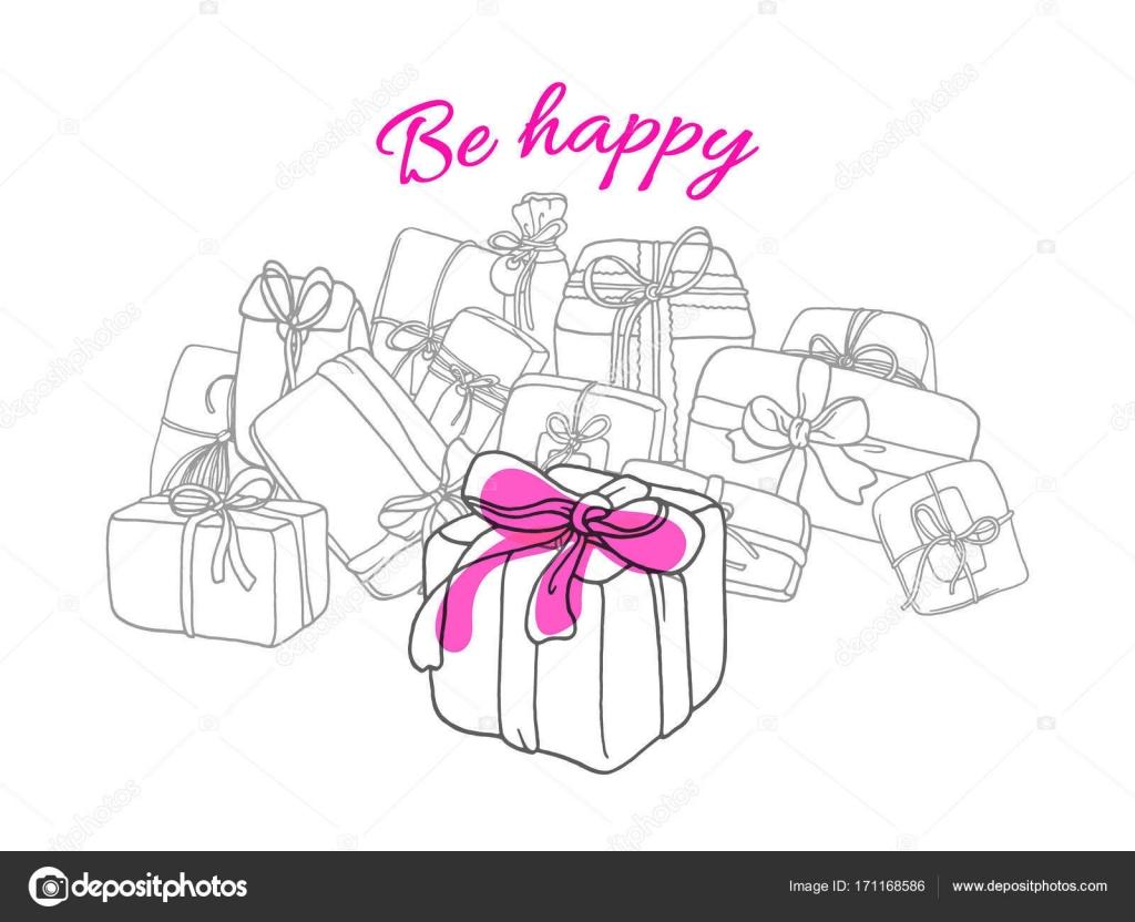 Vorlage von Geschenk-Boxen im Cartoon-Stil. Doodle-Vektor ...