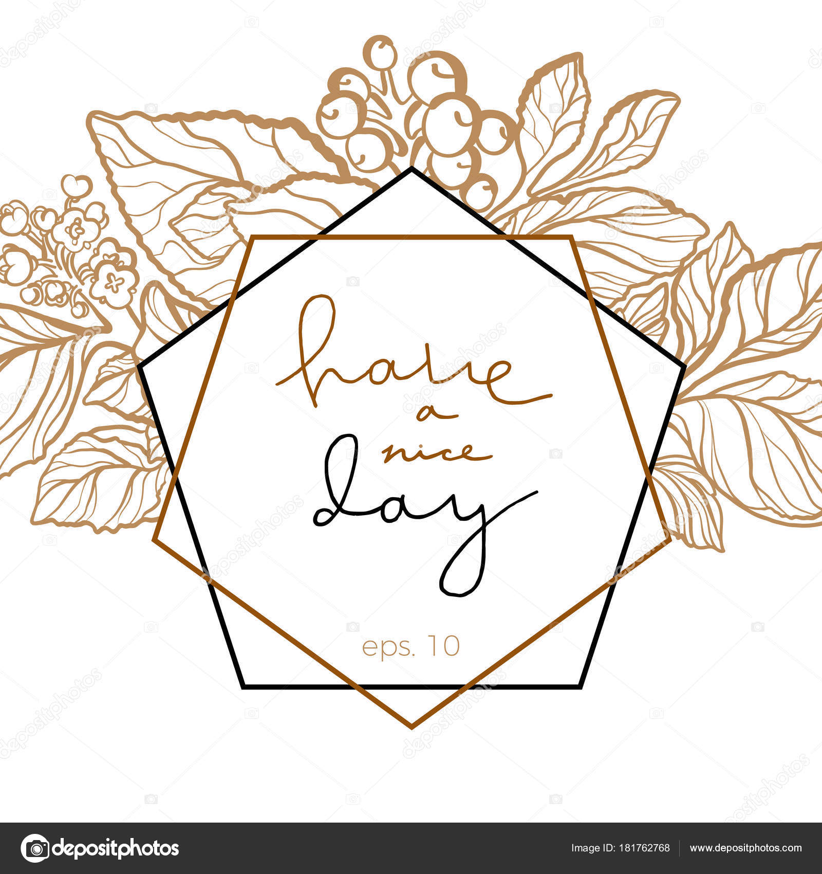 Vector wedding floral invitation with lettering stock vector vector wedding invitation with art line mate branch leaves berries flowers cute card with lettering floral invite template stopboris Images