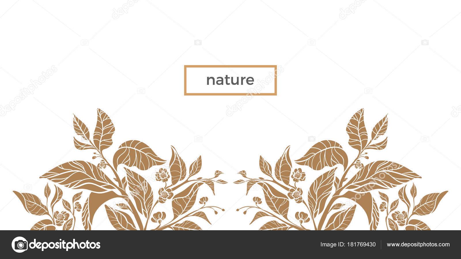 Trendige Vorlagen. Tee-Zweig mit Blättern und Blüten — Stockvektor ...