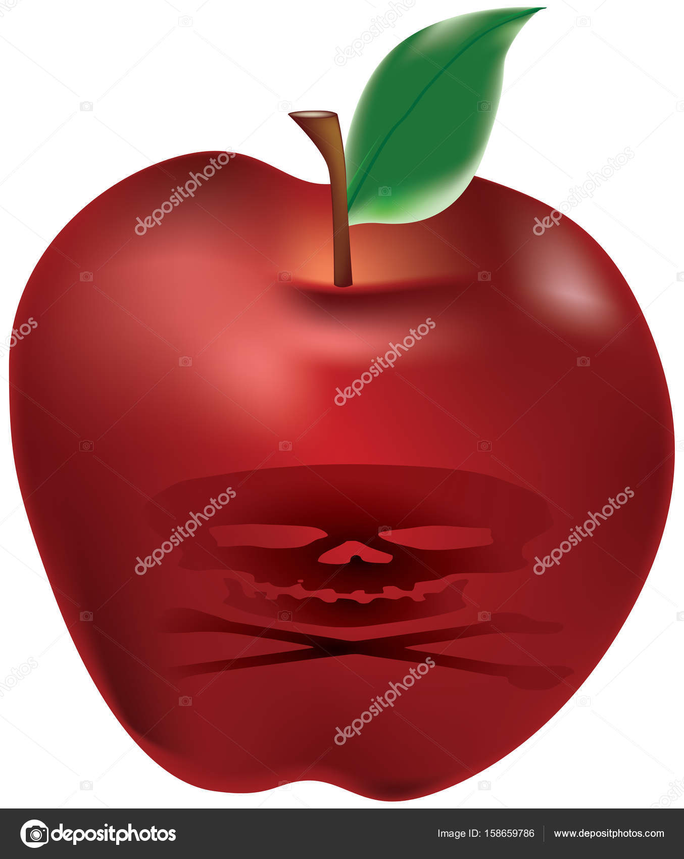 Poisonous red apple stock vector ninagorina 158659786 a poisonous red apple with a symbol of the skull and crossed bones vector by ninagorina buycottarizona