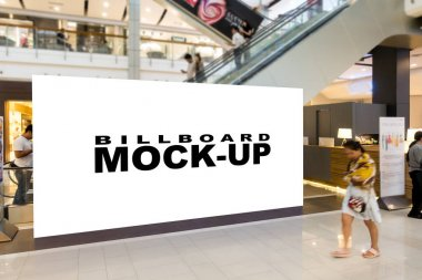 Blank billboards located in shopping mall