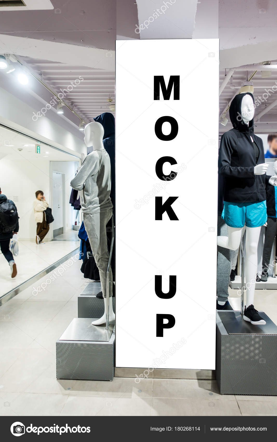 4fba51661 A simulação acima uma placa vertical na loja de roupas com o traçado de  recorte