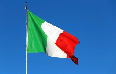 Italian flag waving in the sky without clouds