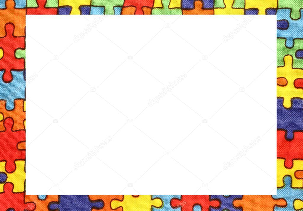 Puzzle de marco con espacio para escribir tu texto — Foto de stock ...