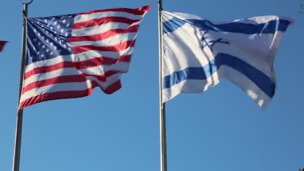 Big American and Israeli flags waving