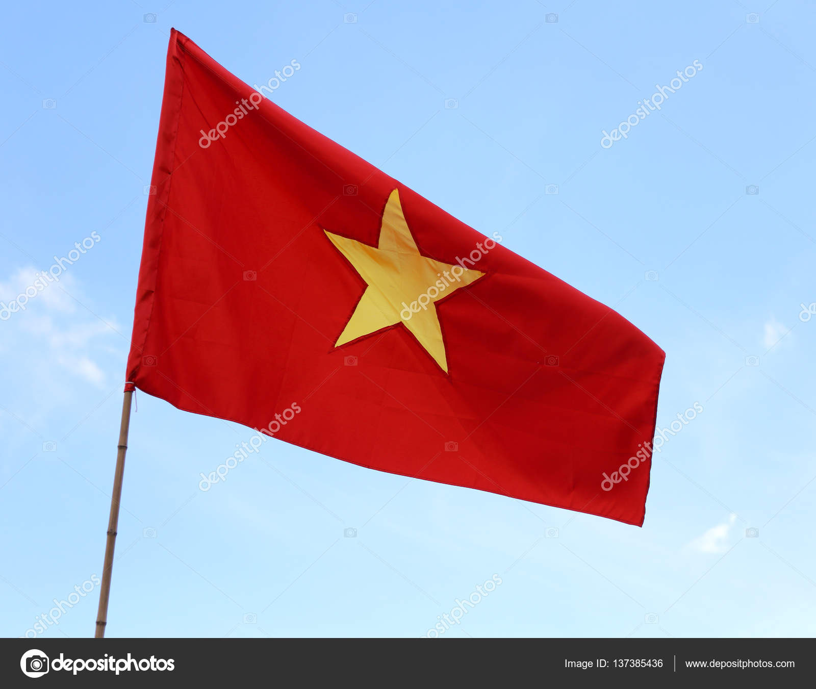 red flag of vietnam with the big yellow star waving — stock photo