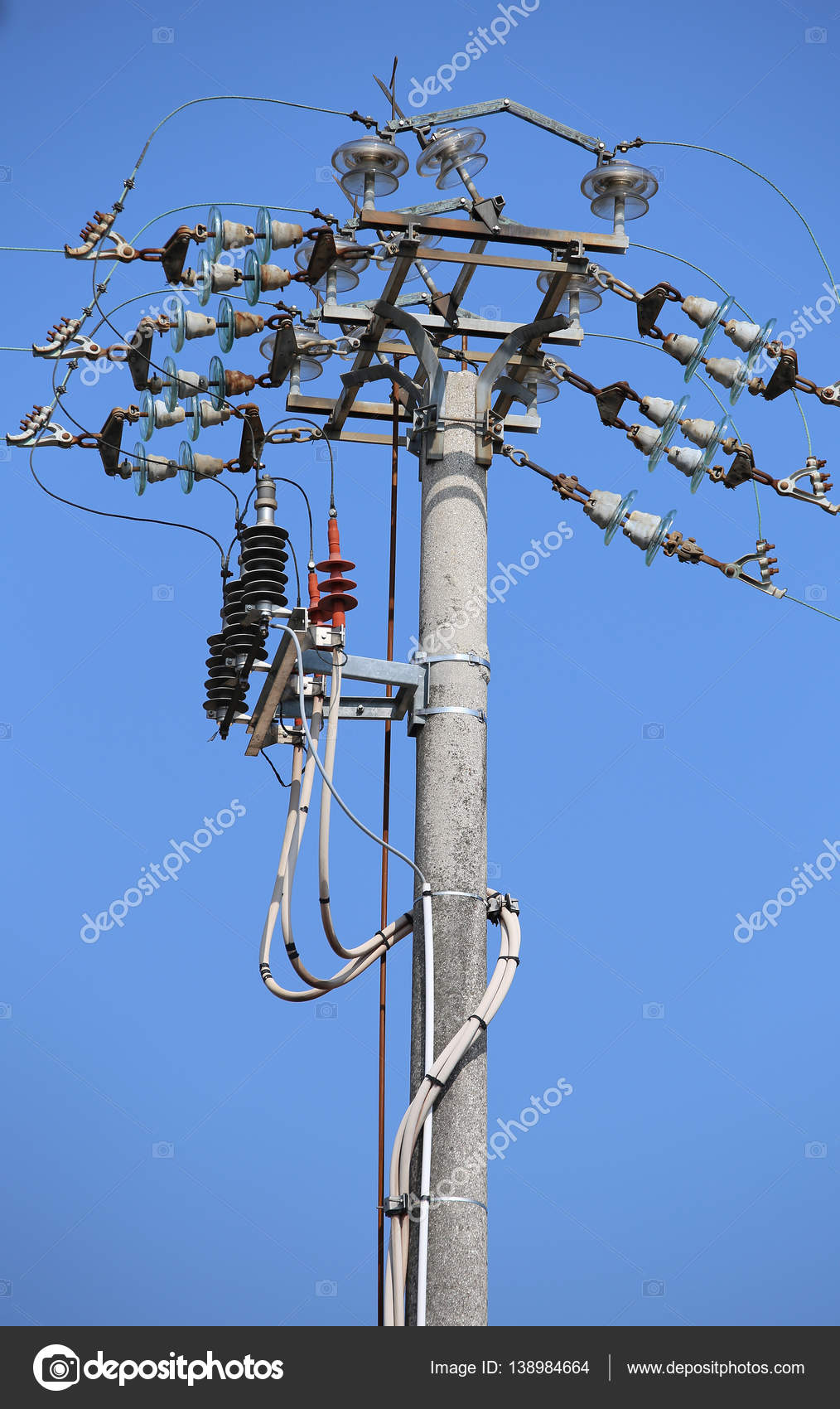 Switches Of An Overhead Power Line With Concrete Pole And Elect  U2014 Stock Photo  U00a9 Chiccododifc