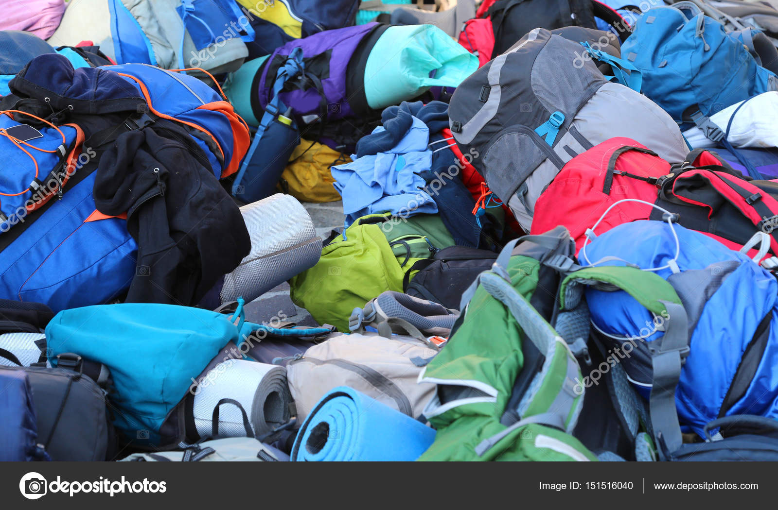 Backpack and bags of boyscout after the summer camp — Stock