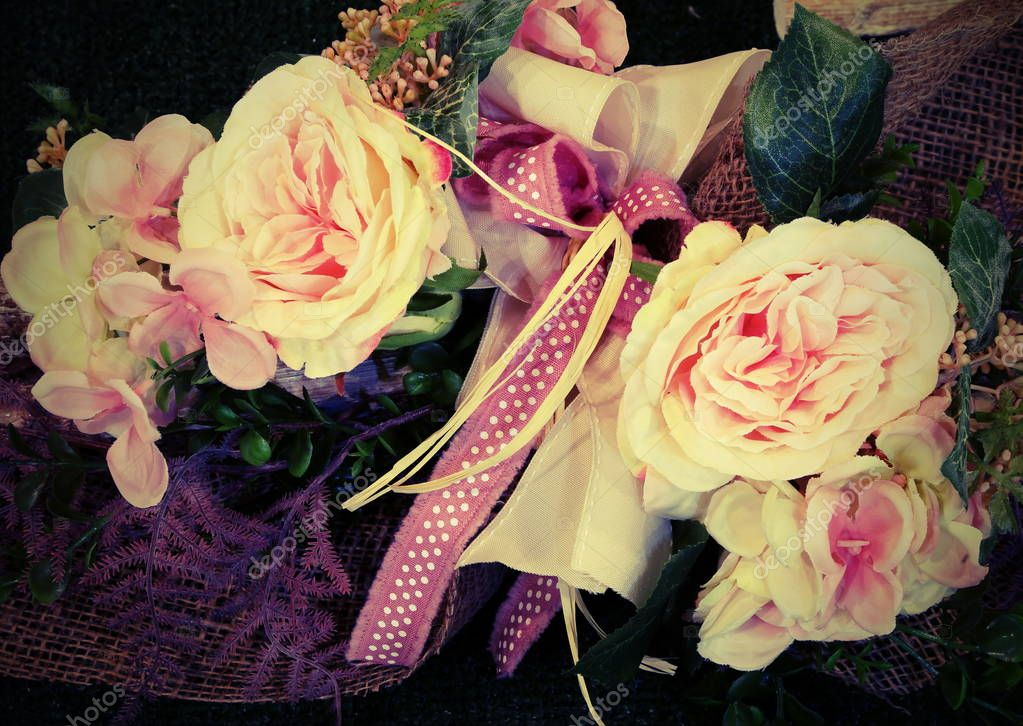 decoration with roses  and vintage effect