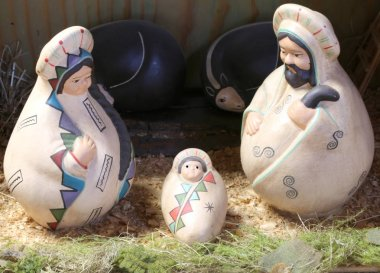 Nativity scene with the holy family in Latin American style